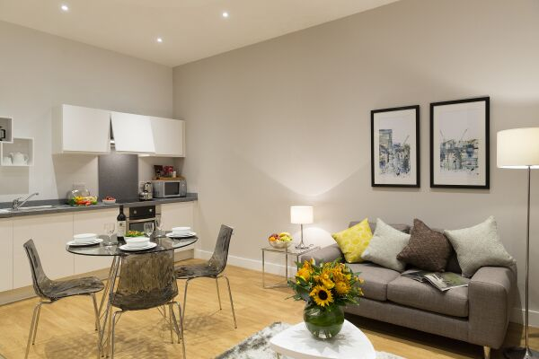 Living Area, Piccadilly Serviced Apartments in Manchester