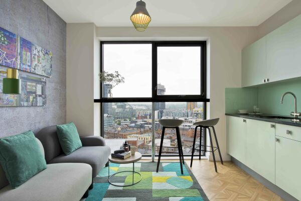 Open Plan Living Area, Church Street Serviced Apartments in Manchester
