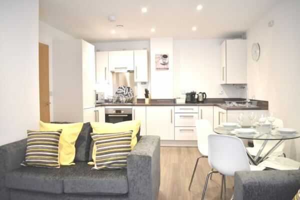 Open Plan Living Area, Duke of Wellington Court Serviced Apartments, Cheltenham