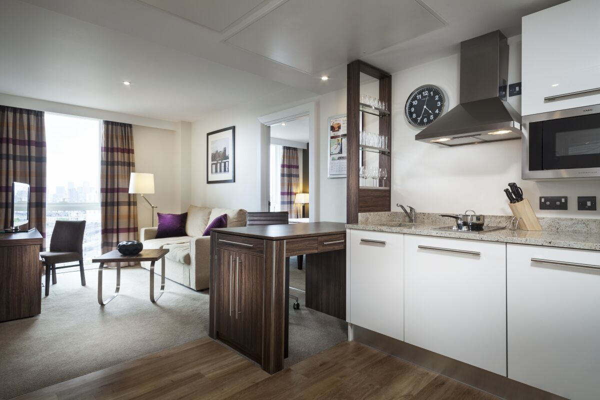 One Bedroom Apartment- Living Room and Kitchen
